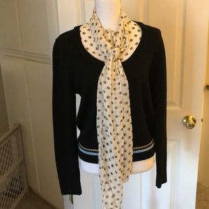 Tory Burch Navy Sweater with cream pussy bow shell